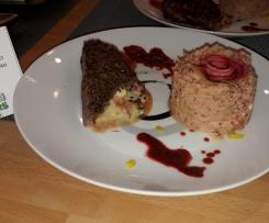 Magret de canard au brie en croustillant, écrasé de céleri à la moutarde de Meaux et sa finesse de betterave au chocolat épicé