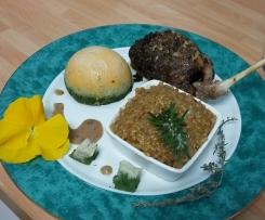 cuisses de lapin en habit provençal, épeautre crémeux et légumes d'hiver