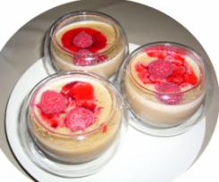 Crèmes chocolat ou vanille aux framboises avec ou sans lactose