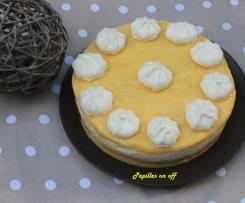Entremet bavarois chocolat blanc, citron et meringue