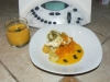 Velouté de potiron + filet d'églefin au pesto sauce potiron safranée