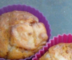 muffins tomate, lardons, comté et basilic