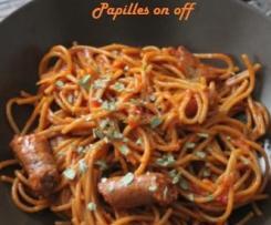 Spaghettis aux merguez, tomates et tomates séchées