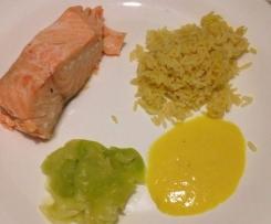 saumon sauce mangue, riz et courgettes