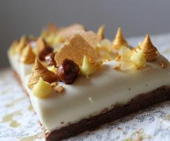 Bûchettes au chocolat blanc, yuzu et praliné