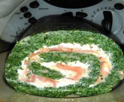 roulé d' épinards au boursin et saumon fumé