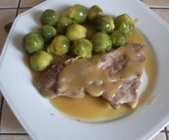 Côte de porc et choux de Bruxelles
