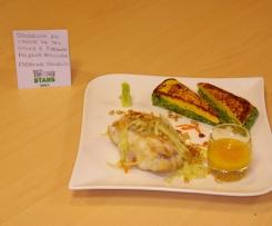 baudroie (lotte) en croûte de sel, sauce à l'orange, fenouil et polenta bicolore