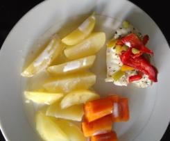filet de cabillaud et légumes vapeur