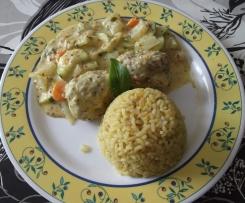 Boulettes de dinde aux légumes sauce moutarde