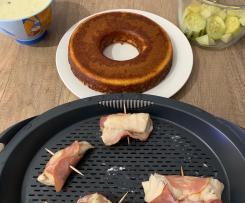 Papillote de poisson au bacon, légumes et galette de polenta