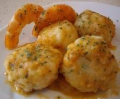 Boulettes de merlu (ou autre poisson) et sa sauce aux gambas à tomber par terre ! (recette de cpidre du forum Thermomix espagnol)