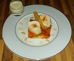 Ballottines de poulet façon Gaston Gérard sur damier de purées,  chips et graines de légumes