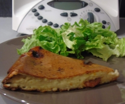 Quiche sans pâte au chorizo - poire et bleu d'auvergne