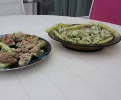 Barquettes de concombre aux 2 farces