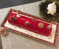 Bûche de Noël, framboise, mousse chocolat blanc et génoise amande