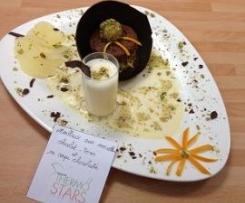 Moelleux aux noisettes chocolat-poires et sa coupe chocolatée