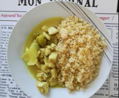 Poulet au citron, olives et boulgour