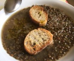 Soupe lentilles vertes et ail (vegan)