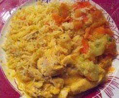 Emincé de poulet et tagliatelles de légumes sauce velours au curry