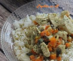 Curry de poulet aux carottes et champignons