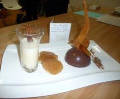Dôme chocolats-caramel - tuiles croustillantes - crème anglaise au chocolat blanc