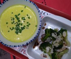 Crème de brocolis au mascarpone et curcuma accompagné de ses bouquets