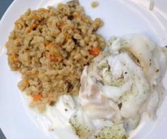 Poisson accompagné de blé et carottes façon risotto