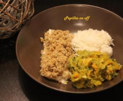 Filets de cabillaud en croûte et leurs légumes au lait de coco