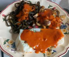Filets de poisson sauce soleil avec  haricots de la mer (recette indice glycémique bas)