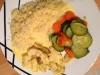 Blanc de poulet et riz sauce crème curry accompagné de légumes
