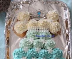 Gâteau de cupcakes en forme de robe de princesse Reine des neiges - Sweet Table /Anniversaire