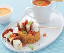 Fodmap Brochettes de cabillaud et chorizo, quinoa aux légumes et velouté de poivron féta