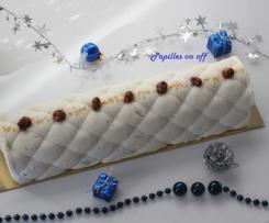 Bûche de Noël chocolat blanc, caramel et cacahuètes caramélisées