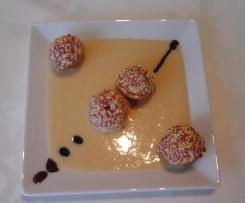 CAKE-POPS AUX POMMES SANS GLUTEN  ET SA CRÈME ANGLAISE