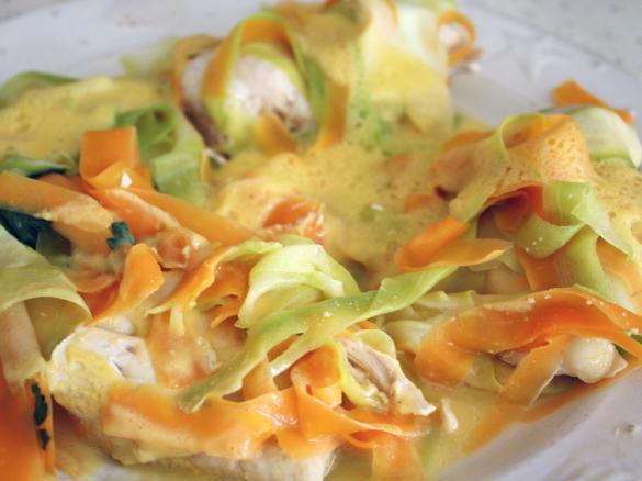 Supr me de poulet aux tagliatelles de carottes et courgettes et son riz parfum aux legumes par - Recette pour courgettes au thermomix ...