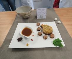Noix d'Ardèche aux légumes anciens, saucisse sauce Broully