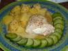 Poulet au fromage, pomme de terre et courgette vapeur, sauce moutarde à l'ancienne