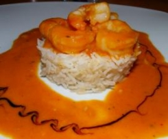 Gambas sauce thai sur timbale de riz bio
