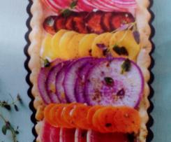 Tarte bayadère radis , betterave et carottes