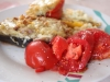 Aubergines farcies coquillettes/jambon