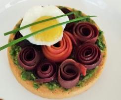 Fleur de carotte violette sur sablé sans gluten