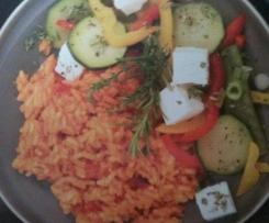 Riz tomate-poivron à la feta et légumes d'été