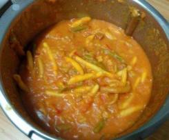 Pâtes crémeuses au chorizo et petits légumes