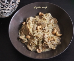 Nouilles chinoises aux champignons et poulet à la thai