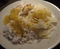 Cabillaud Sauce au curry et Chou