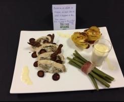 Ballottine de volaille de champagne au boudin blanc de Rethel et champignons de Paris, sauce chaource