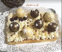 """Bûche """"Boules de Noël"""" aux deux chocolats"""