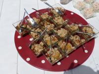verrine de foie gras, compotée de mendiants et crumble noisette