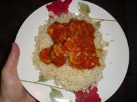 Carri de crevettes et riz blanc